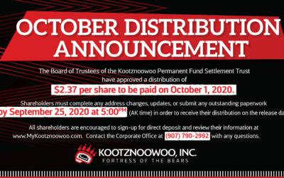 Distribution Announcement – October 1, 2020